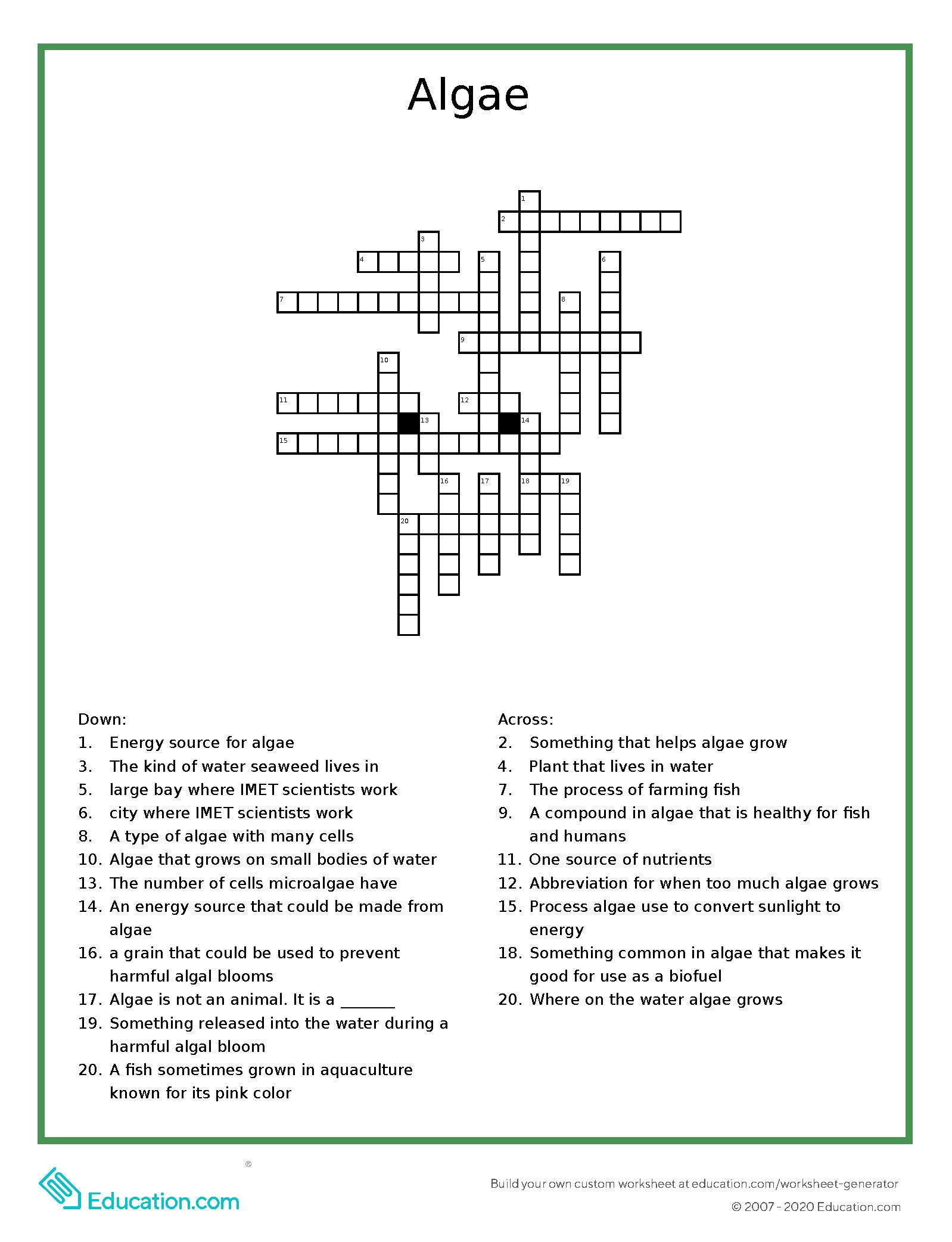 crossword puzzle on algae