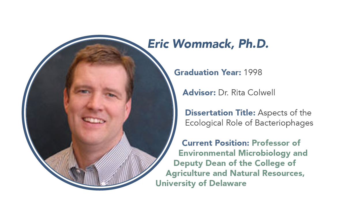 "Dr. Eric Wommack graduated in 1998 from Dr. Rita Colwell's Lab. His Dissertation was titled ""Aspects of the Ecological Role of Bacteriophages."" He is currently a professor and deputy dean at the University of Delaware."