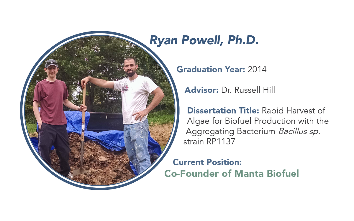 graphic on Ryan Powell, who received a Ph.D. in 2014 in the HIll lab and is the co-founder of Manta Biofuel