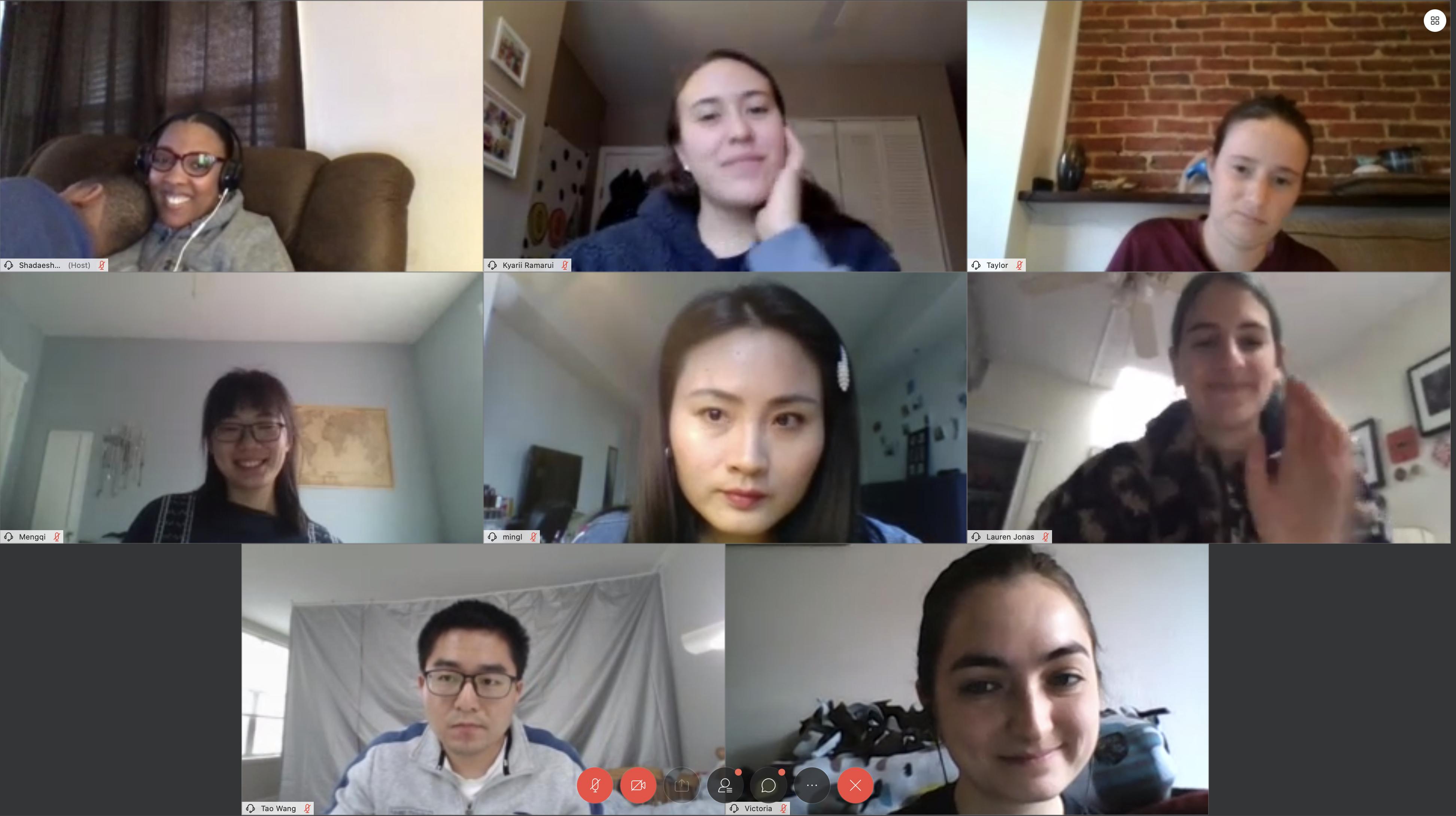 screenshot of 8 students videochatting