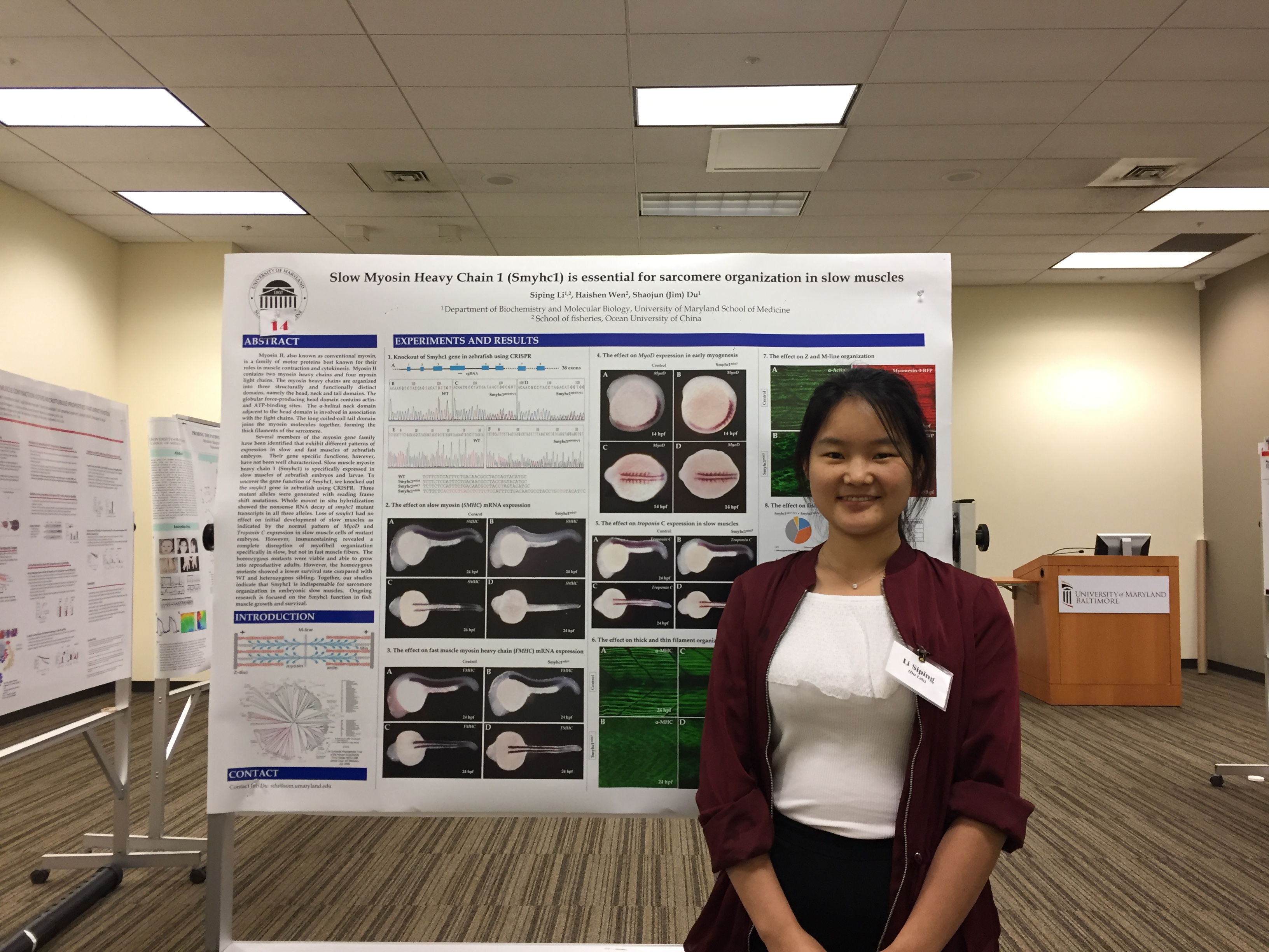 Siping Li presented her poster at 7th Annual Biochemistry and Molecular Biology Retreat at University of Maryland School of Medicine