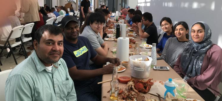 The entire lab at a crab feast