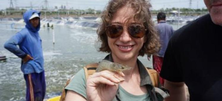 Suzan Shahrestani with a shrimp on her hand