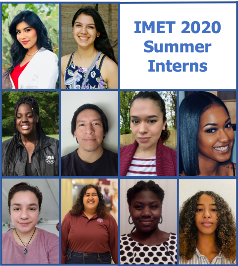 "headshots of interns arranged around text, ""IMET 2020 Summer Interns"""