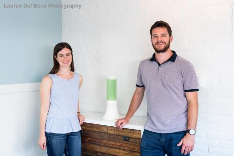 Kelsey and Dan standing with the aerium