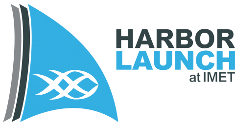"harbor launch logo: a sail with a fish on it and text: ""Harbor Launch at IMET"""