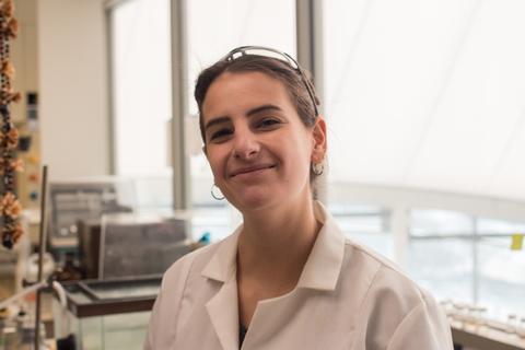 Lauren Jonas in a lab coat