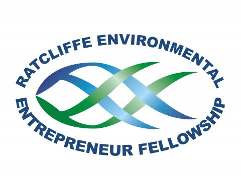 "REEF logo: fish with text, ""Ratcliffe Environmental Entrepreneur Fellowship"""