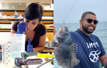 Ana Sosa pipetting in a lab and Ben Frey holding a fish