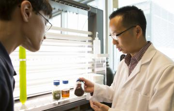 Yantao Li shows a student some brown algae