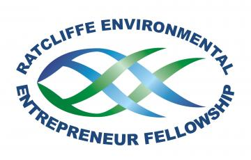 "REEF logo: fish with text, ""Ratcliffe Environmental Entrepreneur Fellowship"""