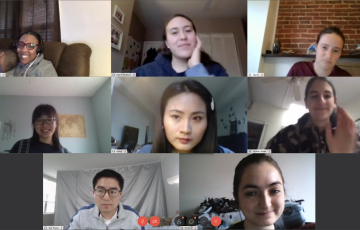 screenshot of 8 students videochatting